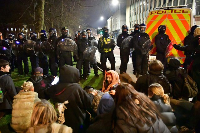 Police and protesters at College Green in Bristol in is the latest 'Kill the Bill' protest in the city against the Government's Police, Crime, Sentencing and Courts Bill, which will see the police handed new powers to tackle demonstrations.