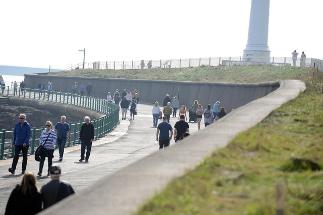 People out and about at Seaburn.