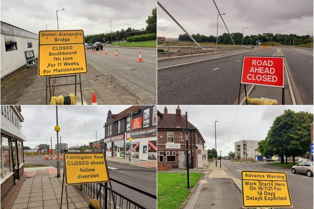 Motorists will soon face disruption at, clockwise from top left, Queen Alexandra Bridge, Northern Spire Bridge, the bottom of Chester Road and the bottom of Hylton Road.
