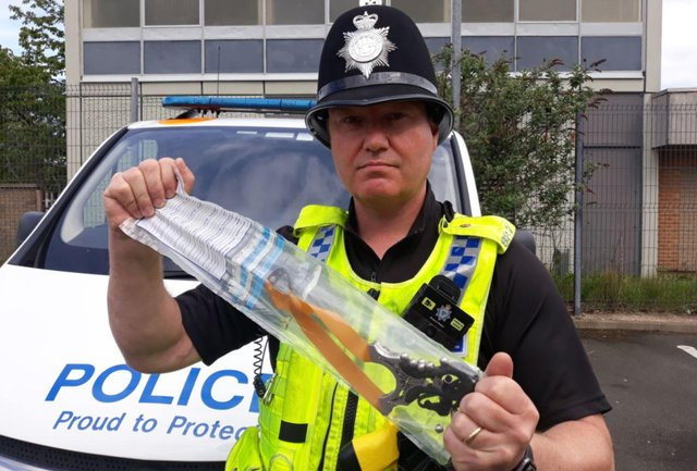 PC Neil Armstrong with one of the catapults seized