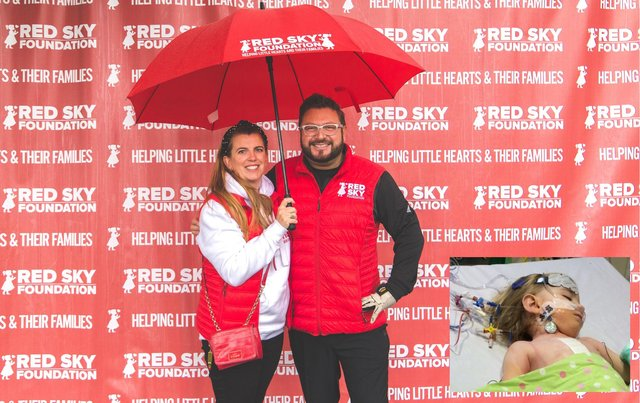 Sergio and Emma Petrucci, who launched the Red Sky Foundation after their daughter Luna (below, right) underwent life-saving heart surgery