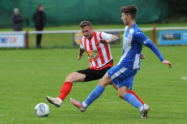 Northern League Football between Sunderland RCA (red/white) and Whitley Bay, played at Meadow Park, Ryhope, Sunderland.