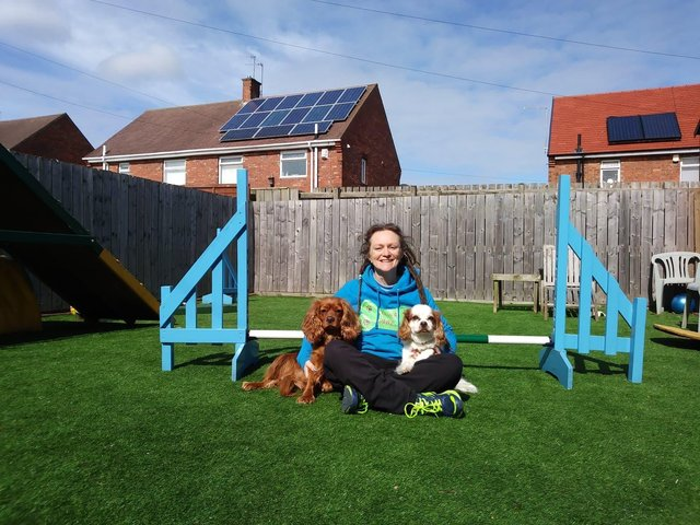 Dog trainer Lucy Parkin with pets Chester (right) and Ding