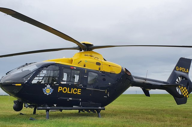 Officers in the National Police Air Support helicopter spotted a vehicle acting suspiciously. Photo: NPAS.