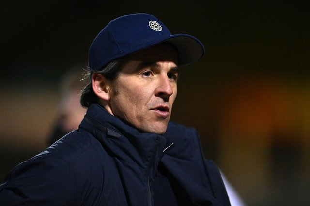 Joey Barton, manager of Bristol Rovers, looks on following the Sky Bet League One match between Bristol Rovers and Accrington Stanley at Memorial Stadium on March 9, 2021