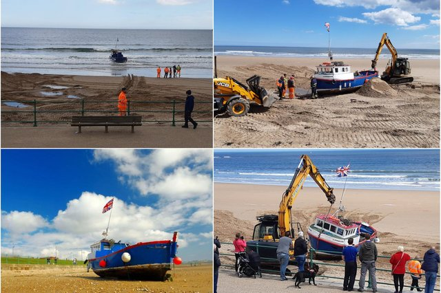 The operation to rescue the boat was launched after it became beached on Sunderland's shoreline.