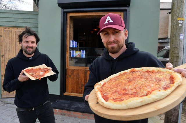 Slice Seaham pizza takeaway at The Coalface pub. Owners from left Mark Milroy and Andy Smith.