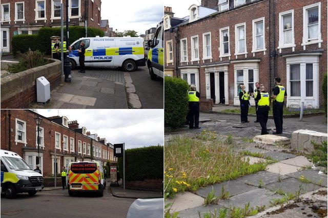 Police can be seen outside an address on Argyle Square in Sunderland.