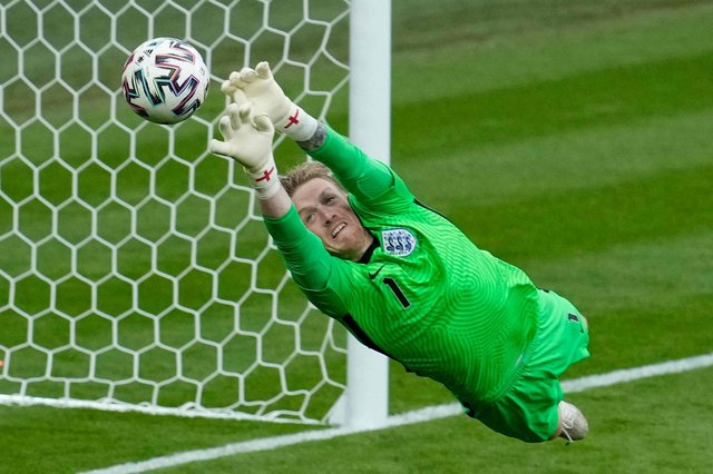 England's goalkeeper Jordan Pickford makes a save during the UEFA EURO 2020 Group D football match between Czech Republic and England at Wembley Stadium in London on June 22, 2021. (Photo by Matt Dunham / POOL / AFP)