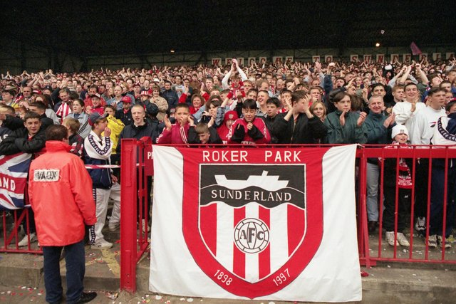 The crowd Sunderland take on Everton in the last league match at Roker Park.