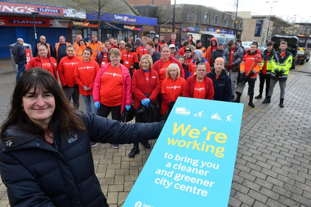 Fiona Brown, Executive Director of Neighbourhoods at Sunderland City Council, and the city centre clean-up team