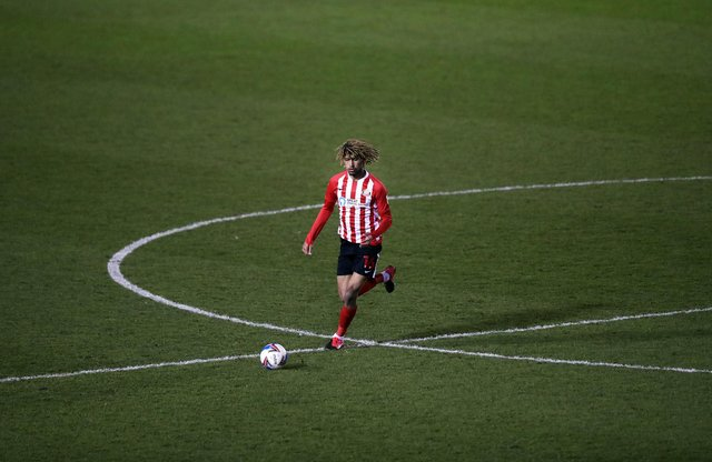 Dion Sanderson of Sunderland in action during the Sky Bet League One match between Shrewsbury Town and Sunderland at Montgomery Waters Meadow.