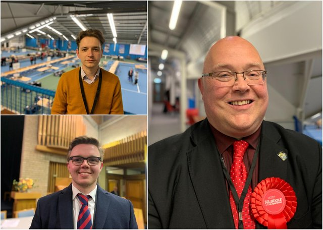 Clockwise from top left: Liberal Democrat leader Niall Hodson, Council leader Graeme Miller (Labour), and Conservative leader Antony Mullen.